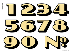 Art deco address numbers for transom windows in gold by House Number Lab