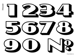 Art Deco style house number vinyl decals customized for your transom window by House Number Lab