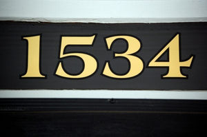 Transom address numbers in 22K gold by House Number Lab