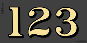 Traditional address numbers in Gold for transom windows by House Number Lab - Baltimore Style