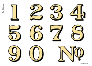 Traditional house numbers in Gold for transom windows by House Number Lab - Baltimore Style