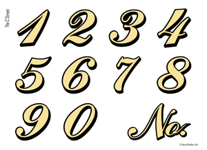 Colonial script address numbers in 22K gold for transom windows by House Number Lab - C St. Style, 22K gold - customizable at housenumberlab.com