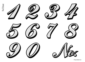 Colonial script address numbers in for transom windows by House Number Lab - C St. Style, Chrome - customizable at housenumberlab.com