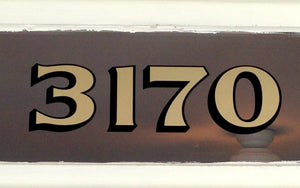 Brownstone style gold address numbers by House Number Lab - housenumberlab.com, Delancey Style