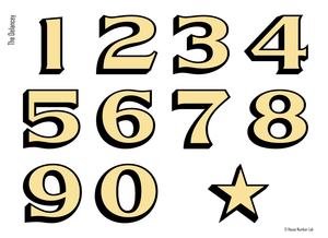 Traditional NYC style gold address numbers by House Number Lab - housenumberlab.com, Delancey Style
