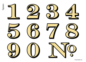 Elegant transom address numbers for your transom by House Number Lab - Engravers style, order online, DIY install - housenumberlab.com