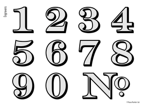 Traditional address numbers for your transom by House Number Lab - Engravers style, Chrome finish, order online, DIY install - housenumberlab.com