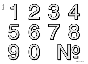 Modern address number in Helvetica, Chrome finish, by House Number Lab - order online at housenumberlab.com