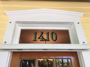 Gold leaf transom house numbers by House Number Lab - Palmer Style - customize and order online at housenumberlab.com