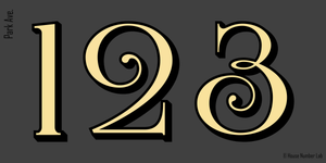 Townhouse address numbers in gold by House Number Lab, Park Ave. style, 22K gold leaf vinyl decal - customize and order online at housenumberlab.com