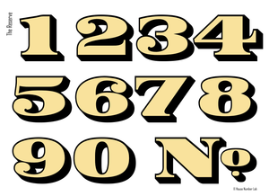 Bold traditional gold transom address numbers by House Number Lab, Reserve Style - customize and order online at housenumberlab.com