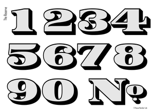 Traditional Chrome transom address numbers by House Number Lab, Reserve Style - customize and order online at housenumberlab.com