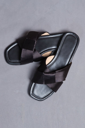 Criss Cross Black Flats