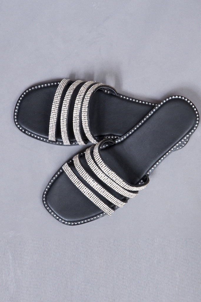Rhinestone Striped Flats