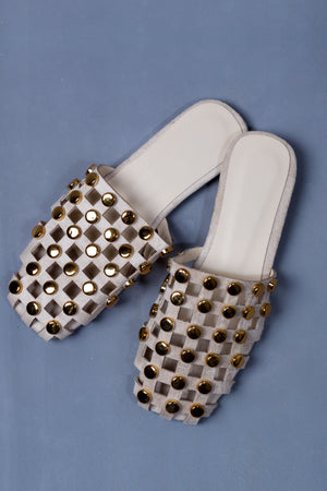 Mesh flats with gold studs