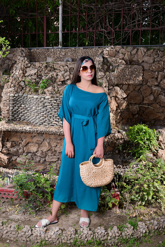 Teal Off Shoulder Dress