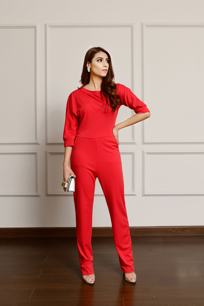 Slashed Neck Jumpsuit Red