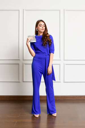 Crowl Neck Jumpsuit Blue