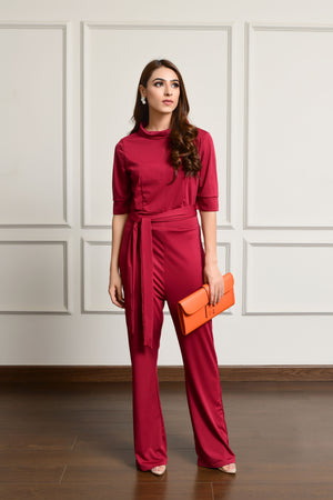 Crowl Neck Jumpsuit Maroon