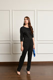 Slashed Neck Jumpsuit Black