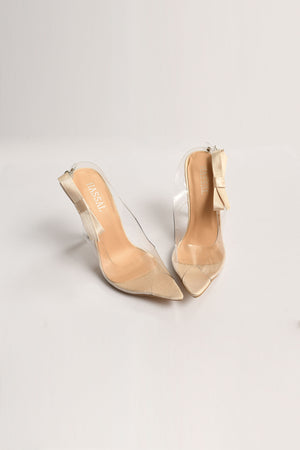 Bow OffWhite PVC Heels