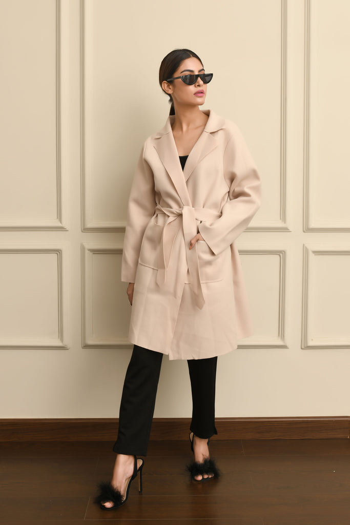 Off White Belted Coat