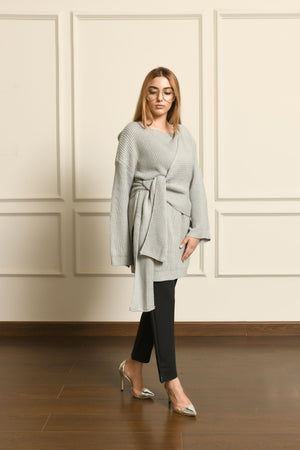 Grey Waist Knot Sweater