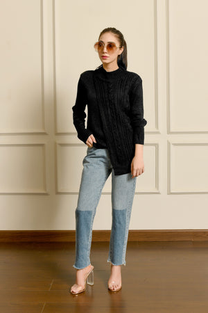 Asymmetrical High neck sweater