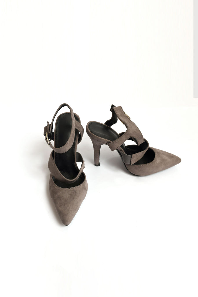 Grey pointed heels with Ankle Strap