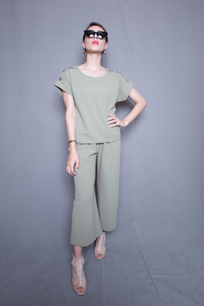 Olive Green Blouse & Culotte Co-ord Set