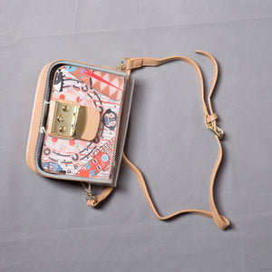 Transparent PU leather bag with multi-color details