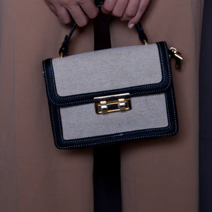 Beige/Black top handle bag