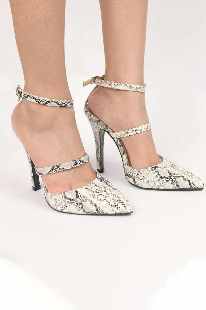 Snakeskin heels with ankle strap