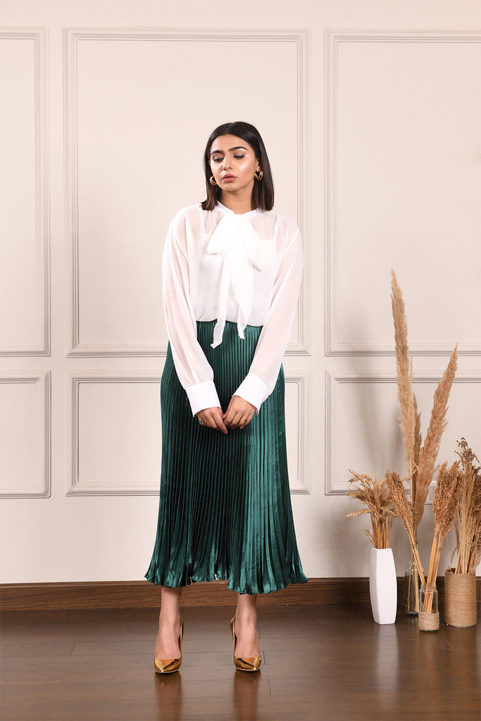 Pleated green Midi Skirt