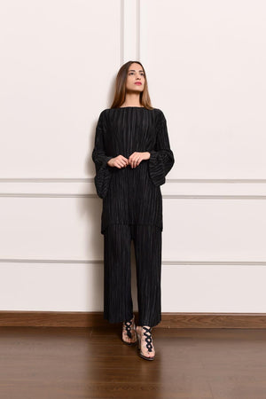 Sibi Black Pleated Set