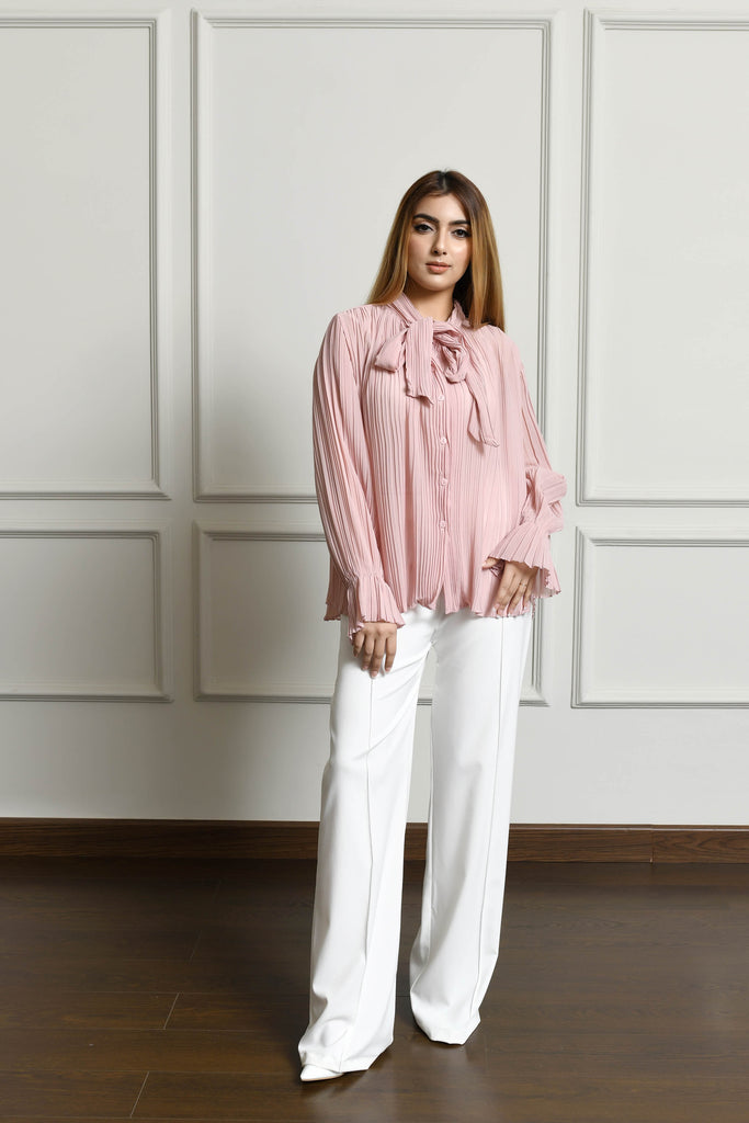 Pleated Bow-tie Blouse