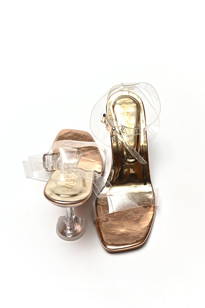 New PVC Heels With Ankle Strap Rose Gold