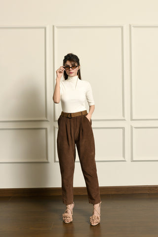 Brown balloon pant with belt
