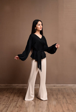 Mona flared pants beige