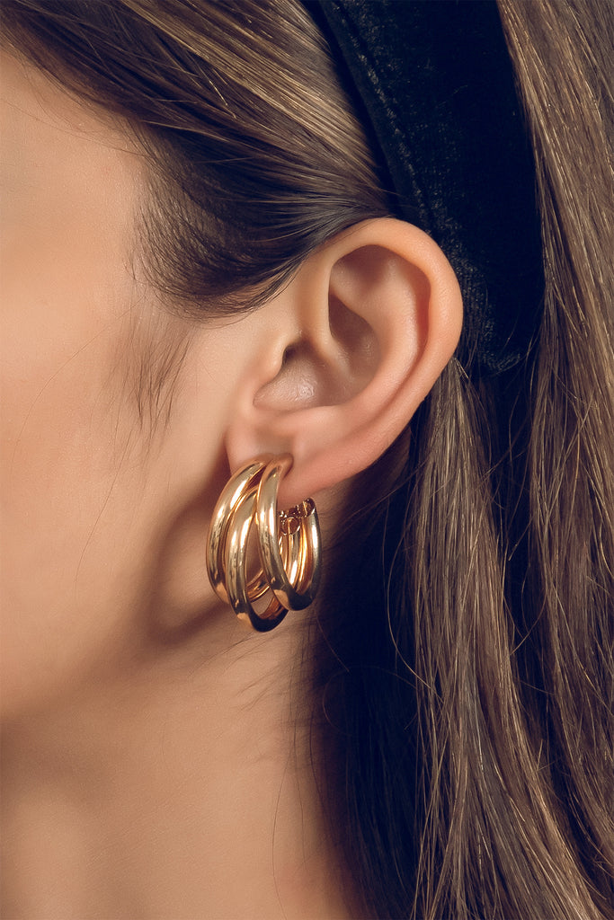 Gold Triple hoop earrings