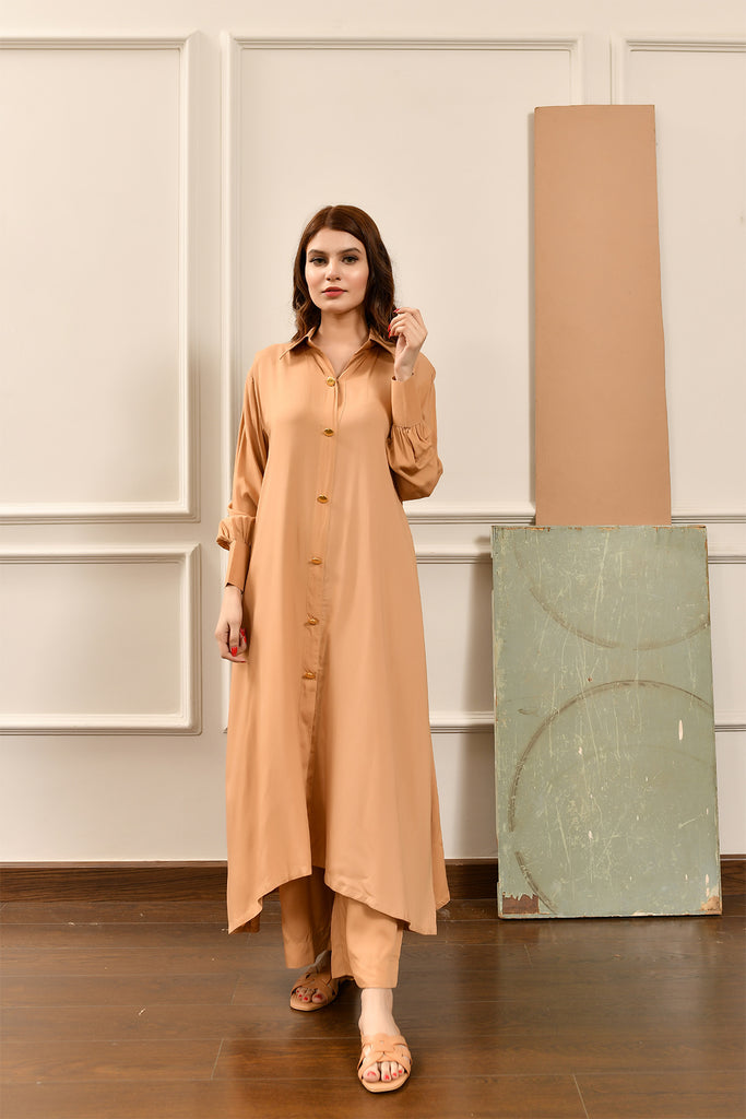 Kiren Light Beige  Dress with Culottes