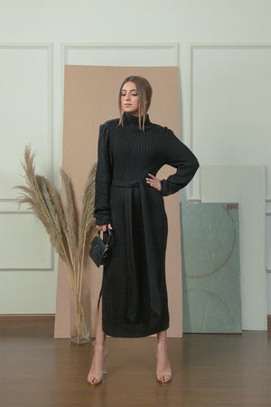 Black Line Knit Dress
