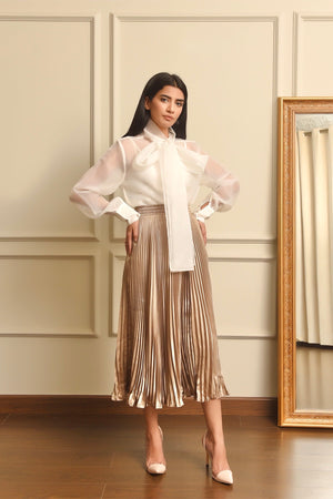 Metallic Skirt Champagne pleated