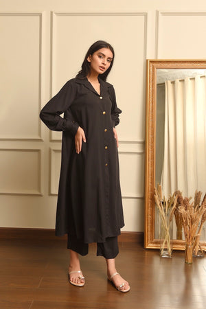 Kiren Black Dress with Culottes