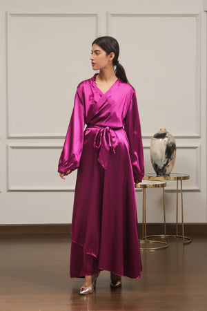 Fuchsia Satin Silk Dress