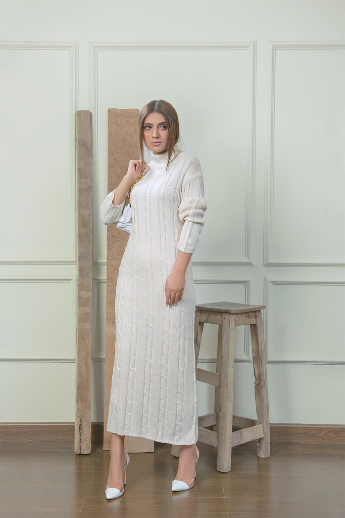 Monia White Knit Dress