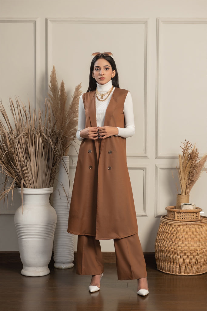 Brown Sleeveless Set