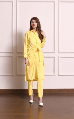 Diana Yellow Wrap Dress Set