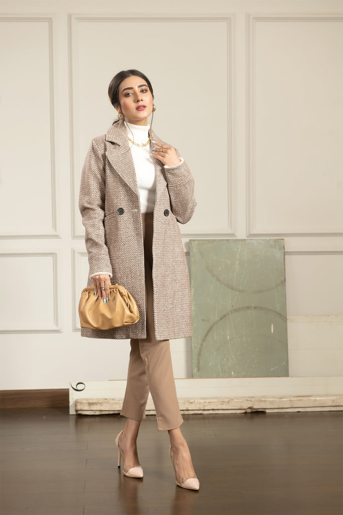 Zig Zag Tweed Coat with Fur cuff