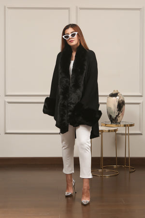 Fluffy Faux Fur Cape